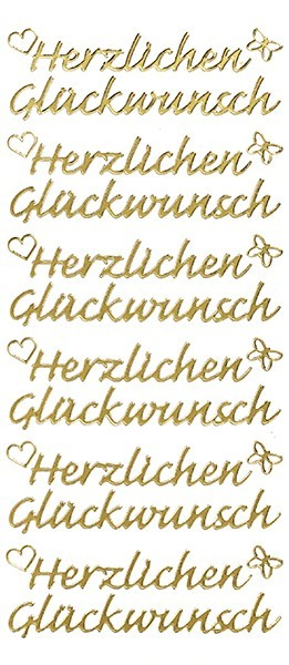 Sticker, Herzlichen Glückwunsch, gold