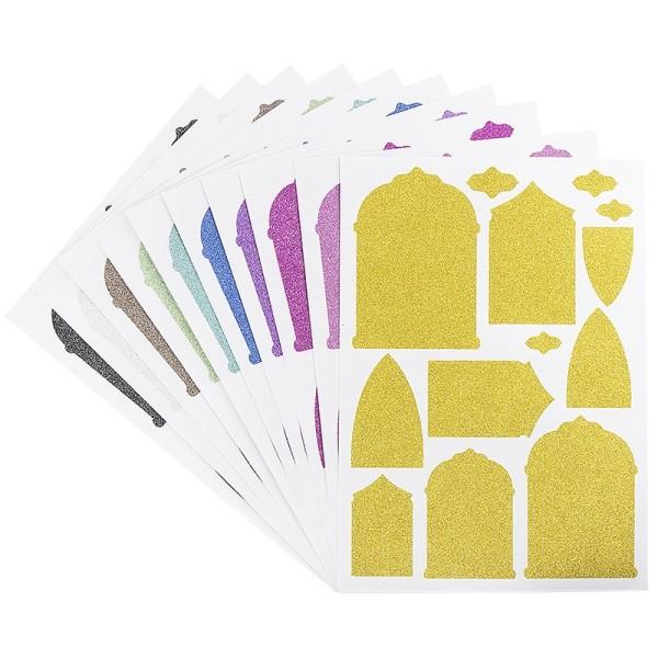 Glitzer-Sticker, Ornamente und Rahmen 2, DIN A4, 10 Farben, 10 Bogen