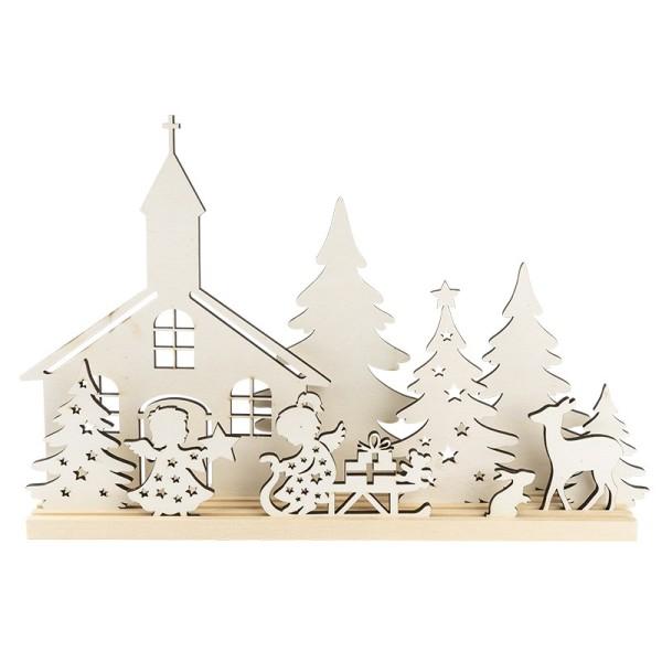 3-D Landschaft zum Stecken, Kirche & Engelchen, Podest & versch. Holzelemente, 11-teilig