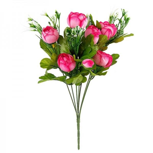 Blütenbusch, Ranunkeln, 33cm hoch, Ø 3,5cm, 7 große Blüten, rosa/grün