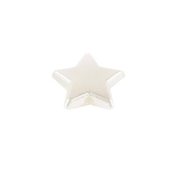 Perlen, Stern 1, flach, 1cm x 0,4cm, perlmutt-weiß, 420 Stück