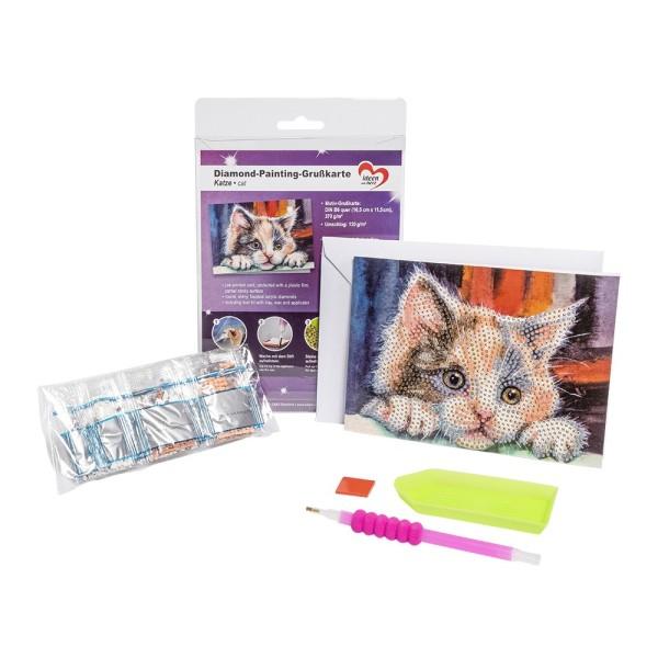 Diamond-Painting-Grußkarte, Katze, 16,5cm x 11,5cm, 370g/m², inkl. Umschlag & Werkzeug