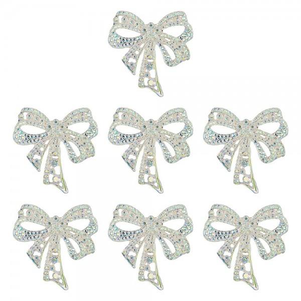 Schmucksteine, Schleife, 4,5cm x 4,5cm, klar, irisierend, silberne Rückseite, 7 Stück