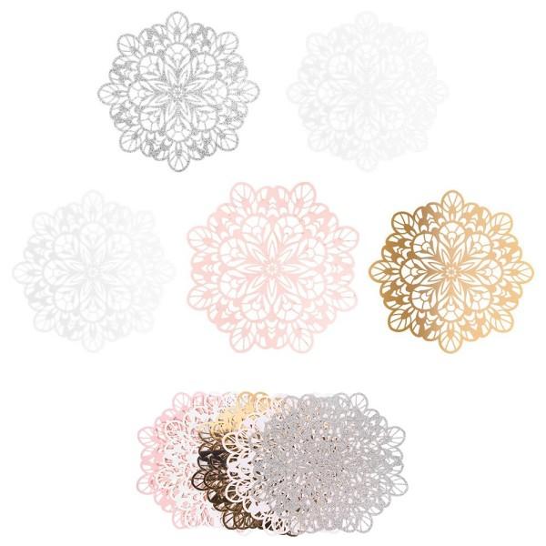 XL-Laser-Ornamente, Zierdeckchen 5, verschiedene Farben, Ø 20cm, 10 Stück