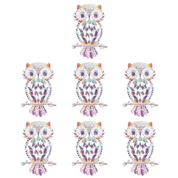 Kristallkunst-Schmucksteine, Eule, 3,4cm x 4,8cm, transparent, klar, irisierend, 7 Stück