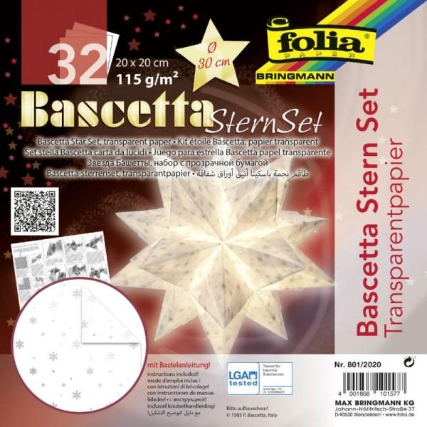 Bascetta Stern Set, transparent, 20x20cm, 32 Blatt, weiß/silber mit Schneeflocken