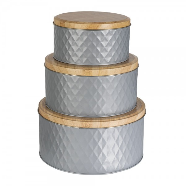 Metall-Dosen, grau, 3 verschiedene Größen, 3 Stück