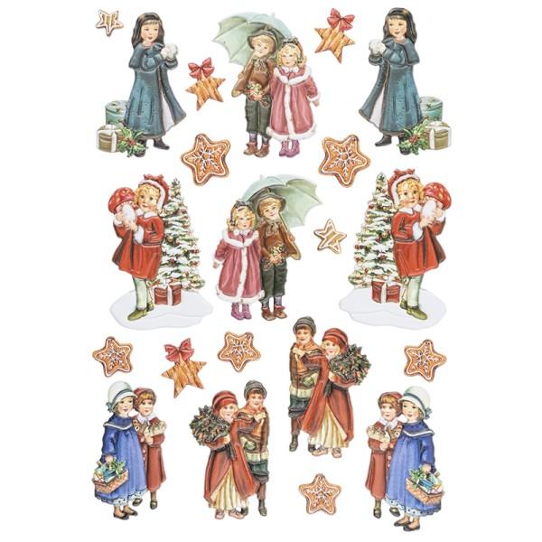 3-D Relief-Sticker, Winterkinder 2, versch. Größen, selbstklebend