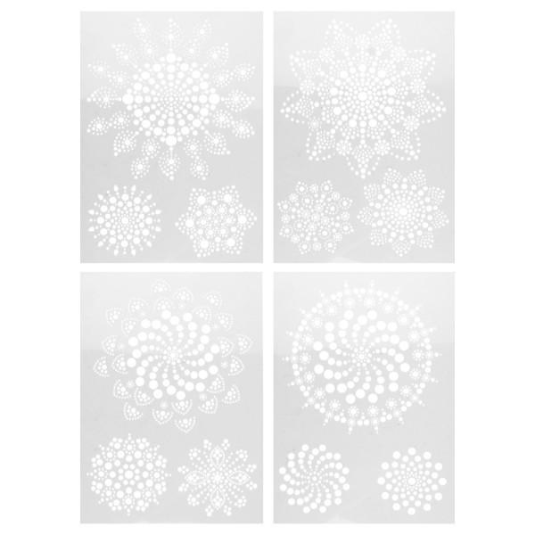 Design-Schablonen Easy Dotting 1, DIN A4, verschiedene Designs, Lochgröße: 1-12 mm, 4 Stück