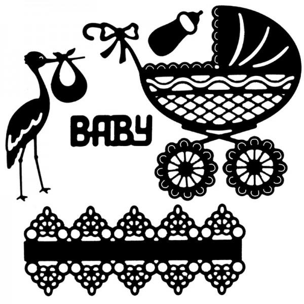 Stanzschablonen, Baby, 5 Stück