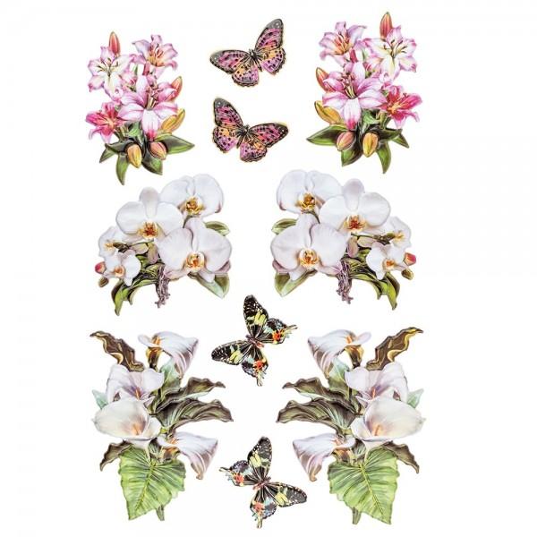 3-D Relief-Sticker, Blumen & Vasen 4, verschiedene Größen, selbstklebend