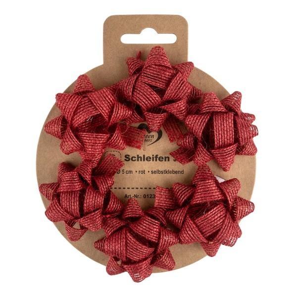 Schleifen Jute, Ø 5cm, rot, selbstklebend, 6 Stück