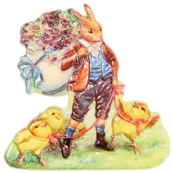 Wachsornament Hase mit Blumenkiepe, 7,5 x 7,5 cm