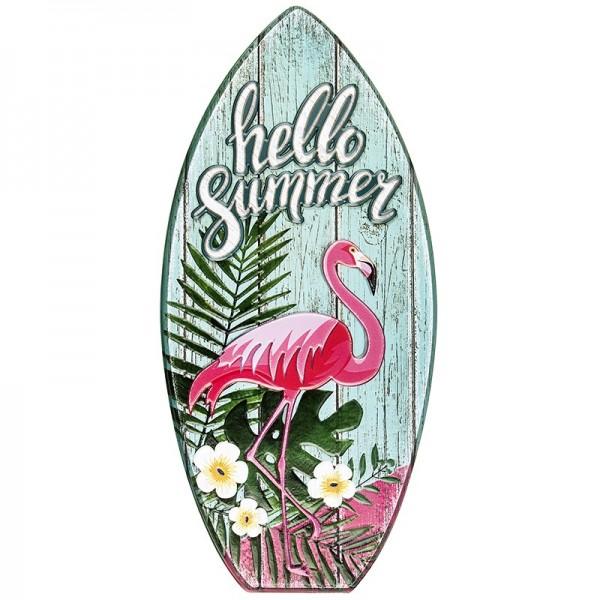 Relief-Sticker in Holz-Optik, Surfboard, 32x17cm