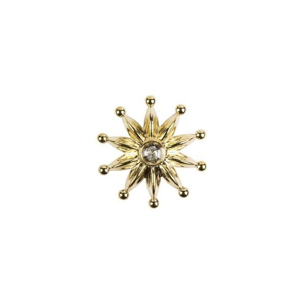 Premium Schmucksteine, Zierblüte 2, Ø 3,1 cm, mit Glas-Kristallen, gold, 50 Stück