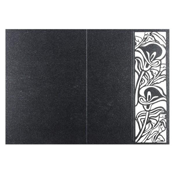 Laser-Grußkarten, Calla, B6, anthrazit, inkl. Einleger & Umschläge, 5 Stück