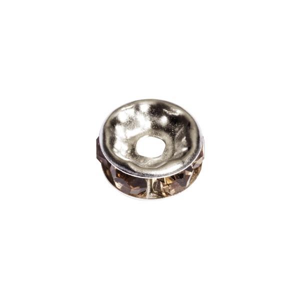 Strass-Rondell mit Strass-Steinen, Ø0,8 cm, 10 Stück, silber/topaz