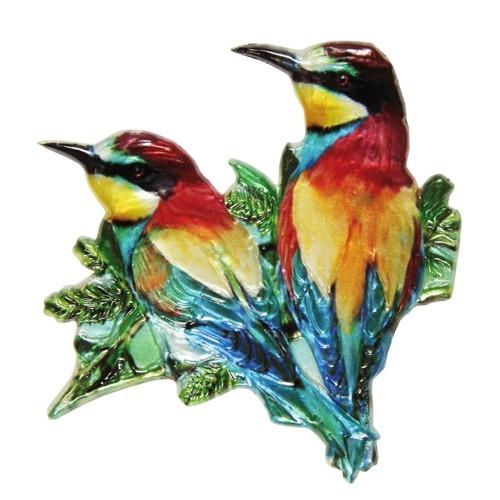 Wachsornament, Wasserschwalbe, farbig, geprägt, 7,5x7,5cm