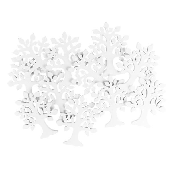 Bäume, Holz, 9cm x 11cm x 0,5cm, weiß, 18 Stück