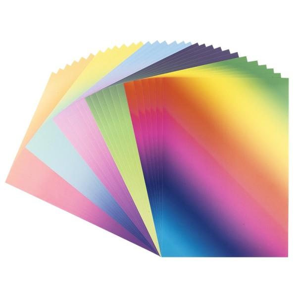 Deko-Karton, Farbverläufe intensiv, DIN A4, 5 verschiedene Farbverläufe, 30 Bogen