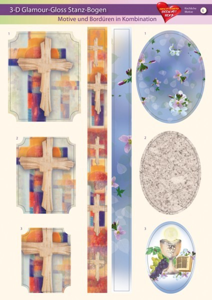 3-D GlamourGloss Bogen, kirchliche Motive, DIN A4, Motiv 6