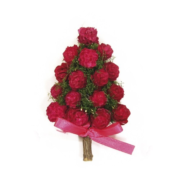 Deko-Bäume, Rosen-Ornamente, 5 Stück