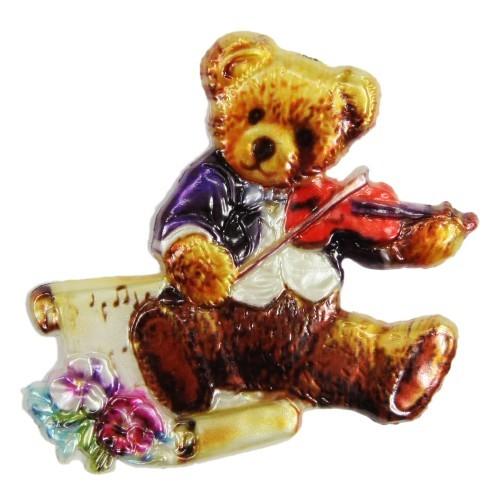 Wachsornament, Teddy mit Geige, farbig, geprägt, 7x7 cm