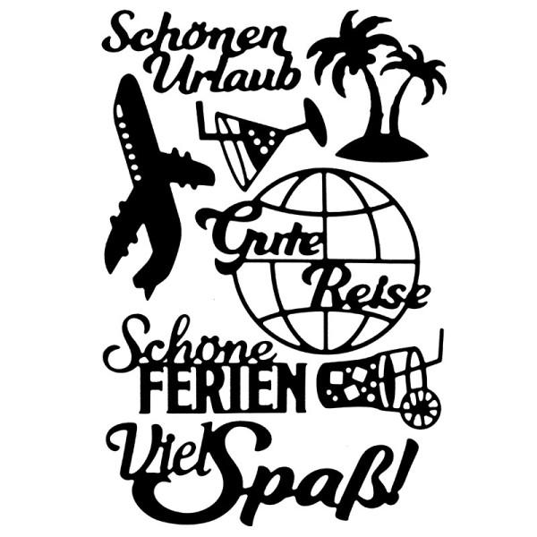 Stanzschablonen, Schriften, Urlaub, 8 Stück