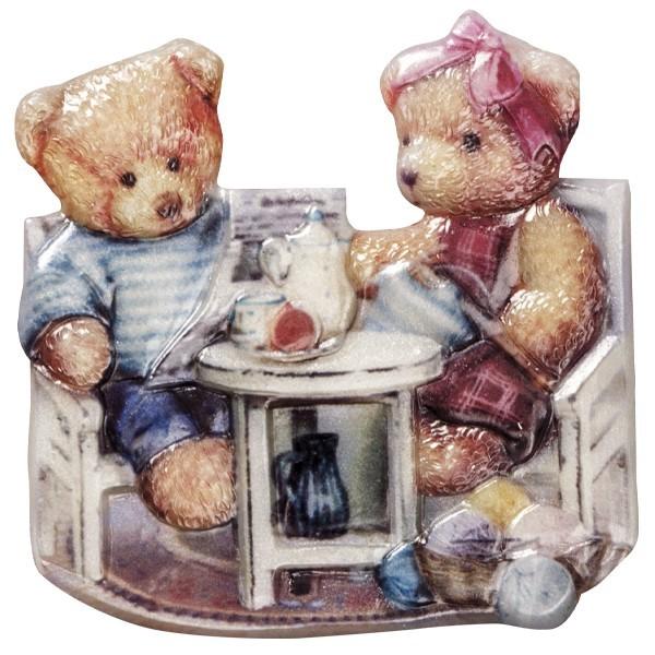 Wachsornament Teddy 1, farbig, geprägt, 7-8cm