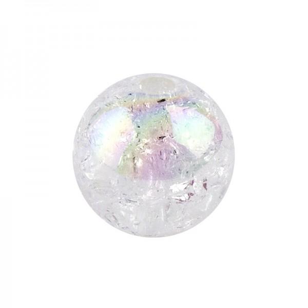 Perlen, Crackle, Ø 10mm, weiß-irisierend, 50 Stk.