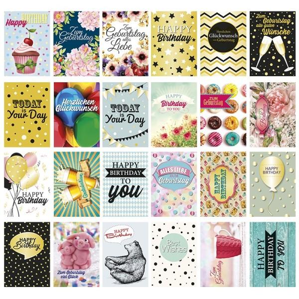 Postkarten, Geburtstag, 10,5cm x 14,8cm, 250 g/m², 24 verschiedene Designs, 24 Stück