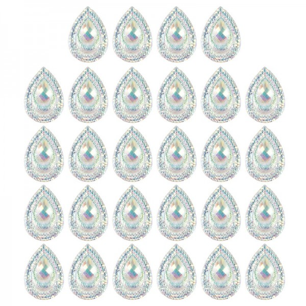 Kristallkunst-Schmucksteine, Tropfen 5, 1,7cm x 2,4cm, transparent, klar, irisierend, 28 Stück