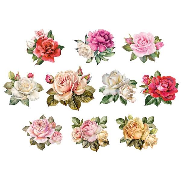 3-D Motive, Vintage-Rosen, 7-9,5cm, 10 Motive
