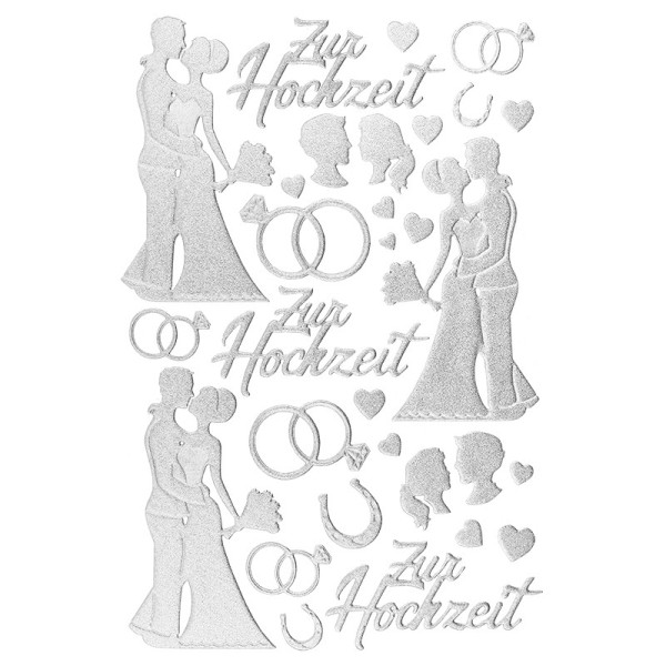 3-D Sticker, Deluxe Zur Hochzeit, selbstklebend, silber