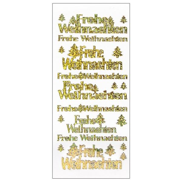 Sticker, Frohe Weihnachten, Holografie-Folie, gold