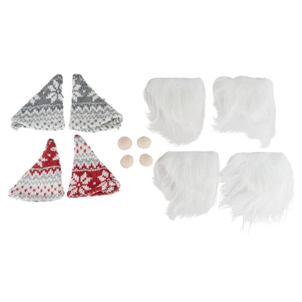 Wichtel-Outfits, 12-teilig, Mützen, Nasen & Bärte, für Ø 8 cm