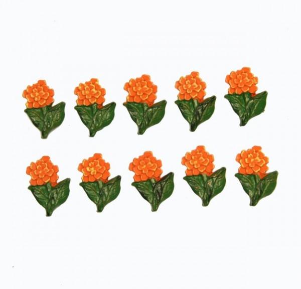 Relief-Blumen, 3 x 2 cm, 10er Set