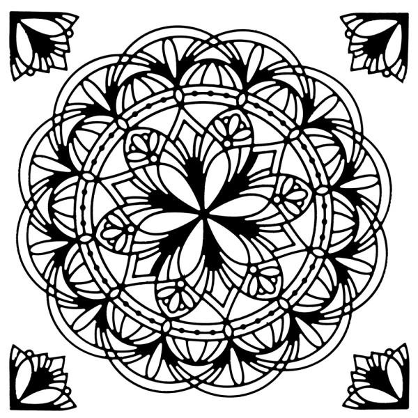 Stanzschablonen, Zierdeckchen mit Eckornamenten 4, 5 Stück