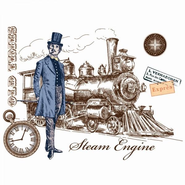 Color Bügeltransfer, DIN A4, filigran ohne Hintergund, Vintage, Herr mit Lokomotive