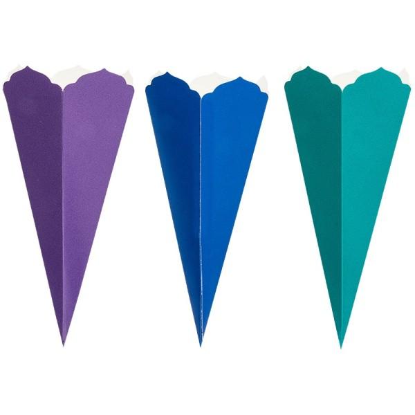 Schultüten, Zierkante, 32cm hoch, Ø 14cm, Deko-Karton, verschiedene Farben, 3 Stüc