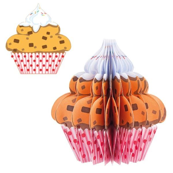 Waben-Stanzteile, Cupcake 1, ocker/rot, 8,2cm x 8,8cm, 100 Stück