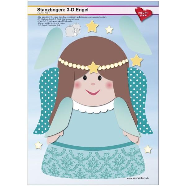 Stanzbogen, 3-D Engel, DIN A4, Design 6, 2er Set