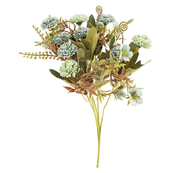 Blütenbusch, Mini-Hortensien, 28cm hoch, 10 große Blüten Ø 3cm, Grüntöne