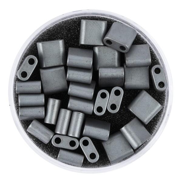 Hämatit-Perlen, Quadrat, 6mm x 6mm x 3mm, matt-anthrazit, 30 Stück