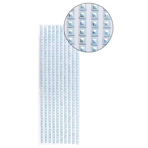 Schmuckstein-Bordüren, selbstklebend, facettiert, irisierend, Quadrate 6 x 6 mm, 29 cm, hellblau
