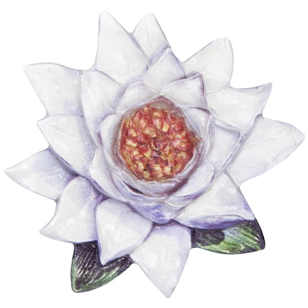 Wachsornament Seerose 6, farbig, geprägt, 7cm