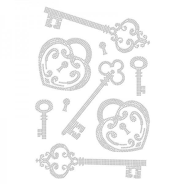 Bügelstrass-Design, DIN A4, einfarbig, klar, Schlüssel