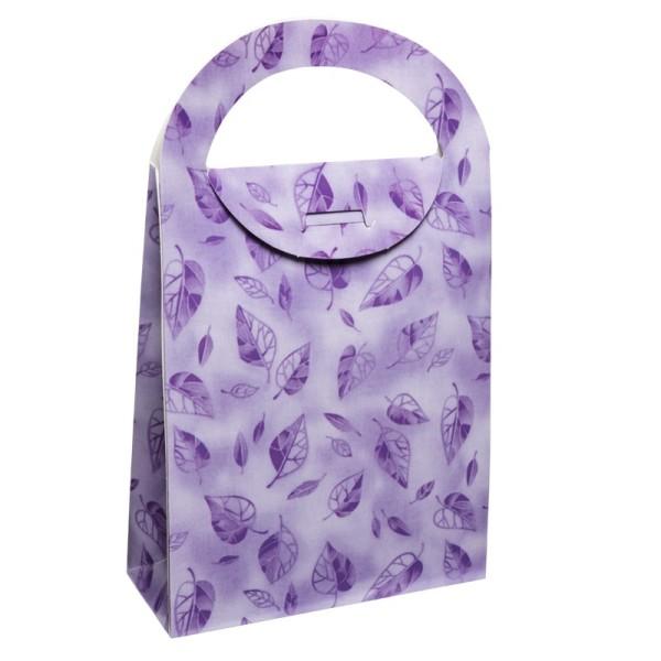 Geschenktasche Blätter, 4,5 x 11,5 x 20 cm, lila