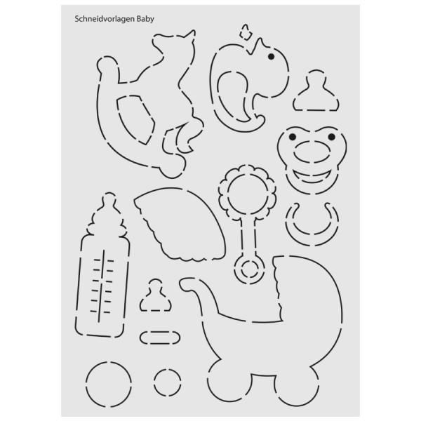 """Design-Schablone Nr. 7 """"Schneidvorlagen Baby"""", DIN A4"""