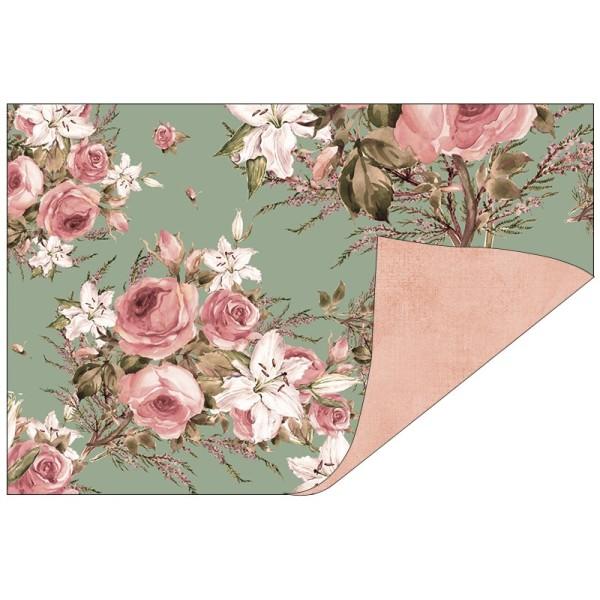Faltpapiere, Duo-Design 38, 10cm x 15cm, Rosen/apricot, 50 Stück